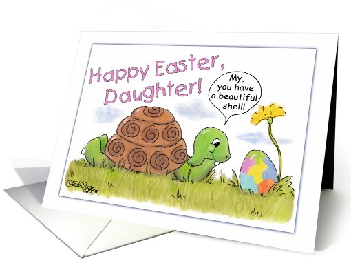Turtle Admires Easter Egg-Daughter card (380136)