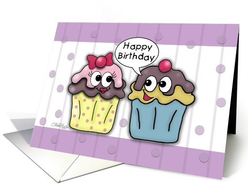 Happy Birthday for Wife- Cartoon Cupcakes card (826894)