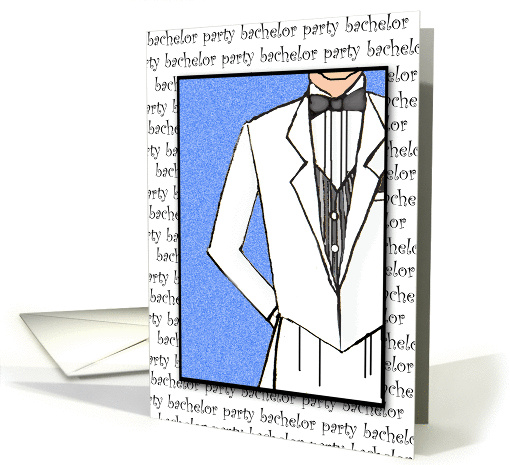 Bachelor Party Invitation White Tux card (179260)