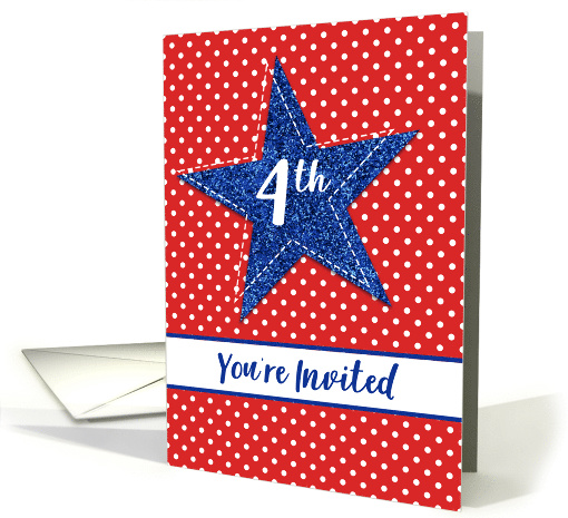 Blue Star You're Invited 4th of July Party Invitation card (1530890)