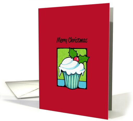 Christmas Holly Cupcake red card (715260)