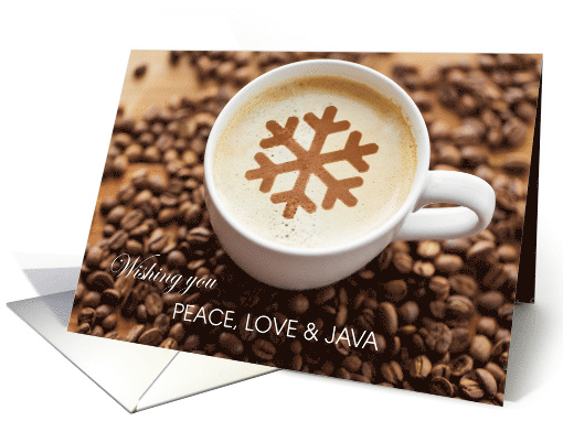 Peace Love & Java Coffee Business Holiday Greeting card (1579886)