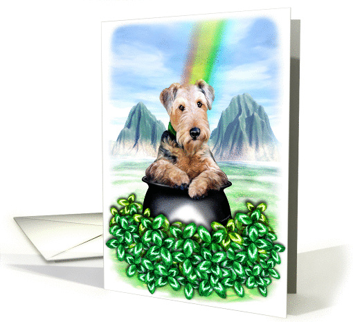 Airedale Terrier Dog Pot of Gold card (50573)