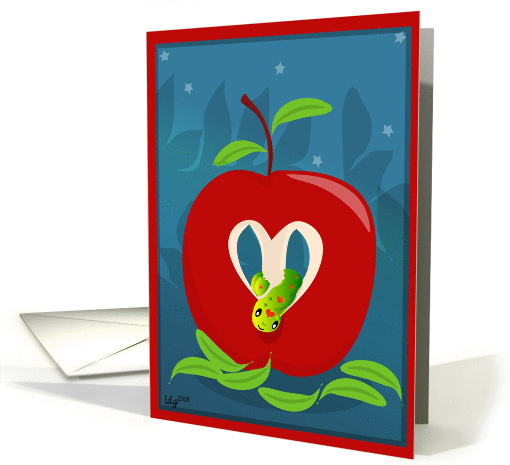 Love you to the Core! Valentine Love Apple and Worm card (355631)