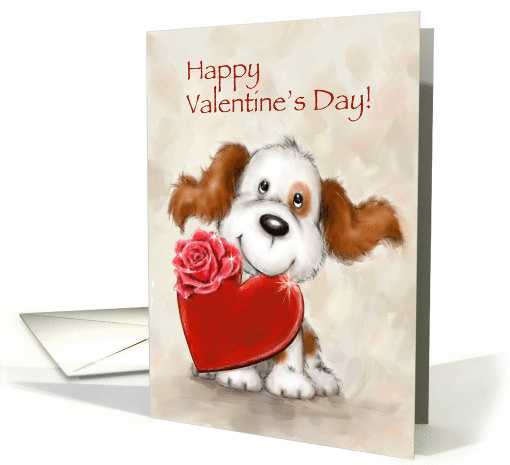 Cute dog with heart, Happy Valentine's Day. card (1462030)