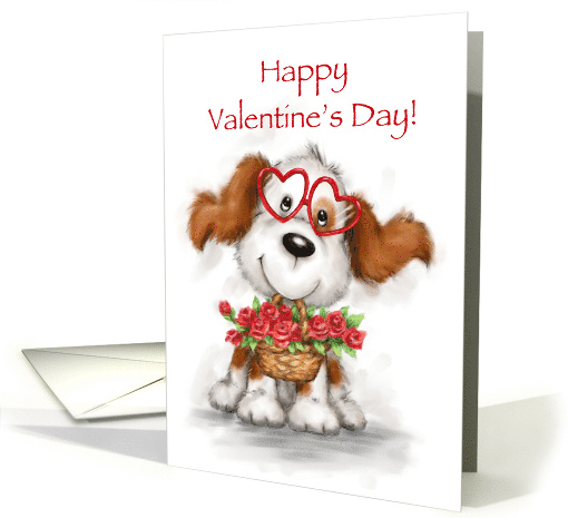 Cute dog wearing heart shaped eyeglasses with roses,... (1505484)