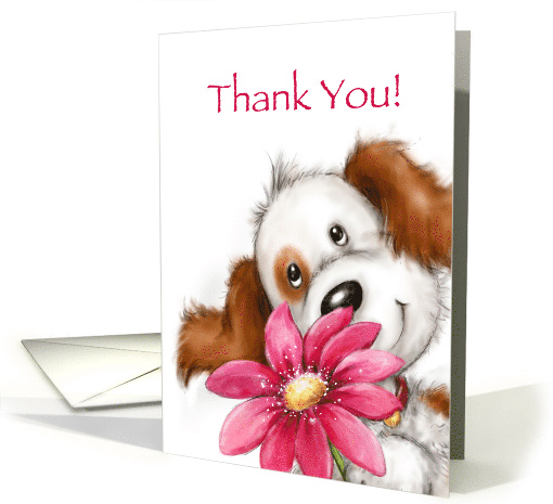 Cute dog with big smile holding huge red pretty flower, Thank you card