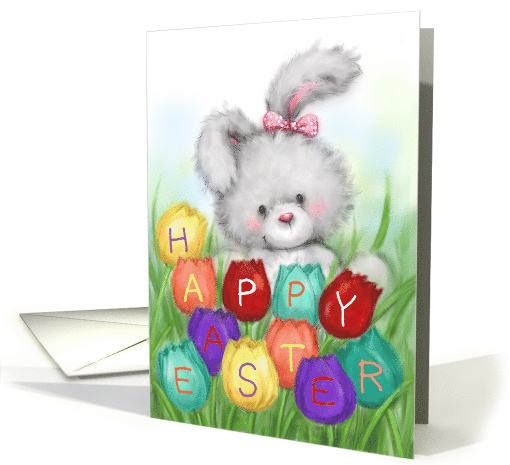 Rabbit with Colorful Tulips with Letter Happy Easter card (1562038)