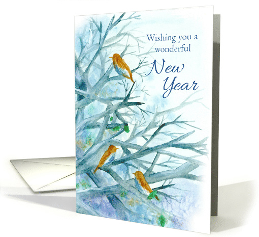 Happy New Year Bluebirds Winter Trees card (1137464)