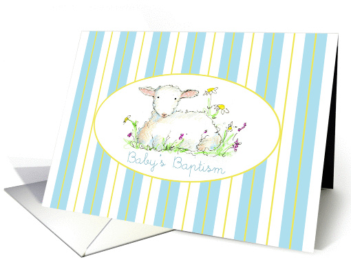Baby's Baptism Invitation Lamb Art Drawing Blue Stripe card (1144406)
