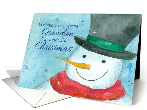 Merry Christmas Grandson Snowman Snowflakes Watercolor card (1167174)
