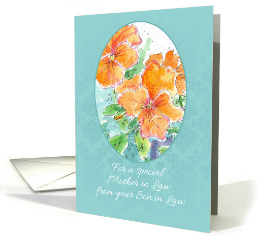 Happy Mother in Law Day From Son In Law Orange Pansy card (1177002)