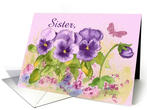 Happy Birthday Sister Butterfly Purple Pansy card (121166)