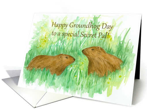 Happy Groundhog Day Secret Pal Watercolor Art card (1225162)