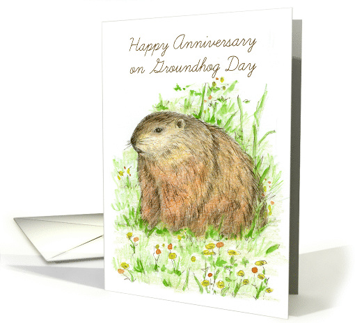 Happy Anniversary on Groundhog Day Animal Art card (1225806)