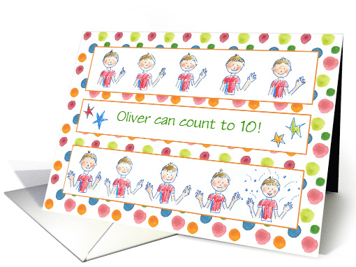 Kids Count To Ten Young Boy Congratulations Custom Name card (1414766)