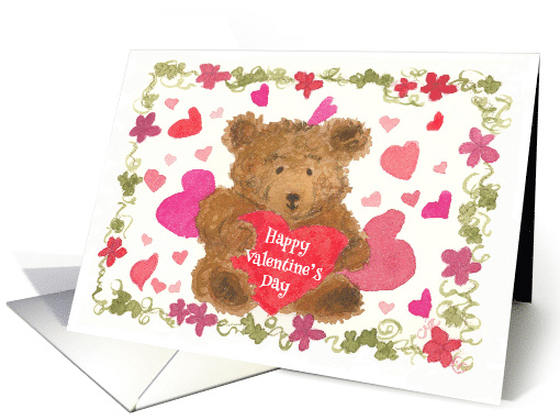 Happy Valentine's Day Teddy Bear Red Hearts card (142472)