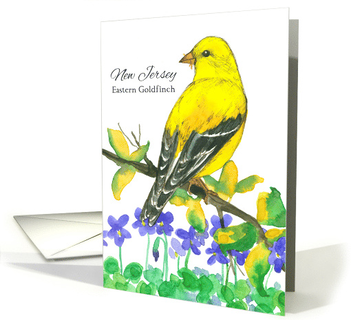 State Bird of New Jersey Eastern Goldfinch Purple Violets card