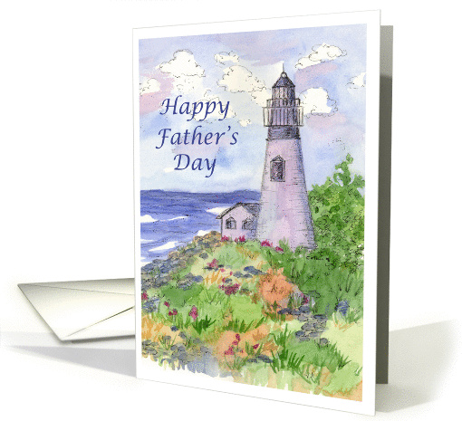 Happy Father's Day Lighthouse Landscape Watercolor Painting card