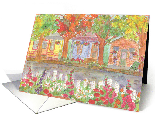 New Home Address Announcement Watercolor Houses card (172932)