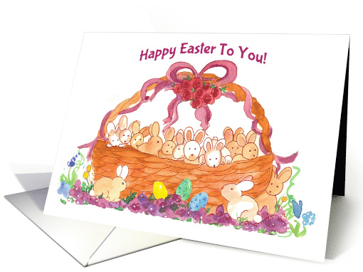 Happy Easter To You Basket of Bunnies card (370132)