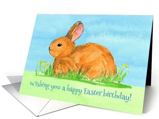 Happy Easter Birthday Rabbit Yellow Flowers Watercolor card (370591)