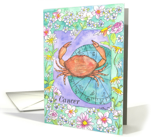 Happy Birthday Cancer Zodiac Sign Astrology Watercolor Art card