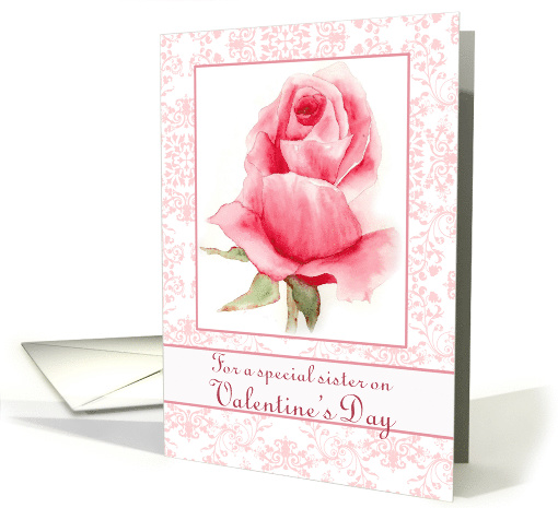Happy Valentine's Day Sister Watercolor Pink Rosebud card (543592)