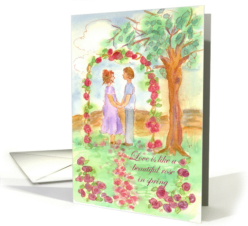 Engagement Party Invitation Wedding Couple Watercolor Rose Garden card