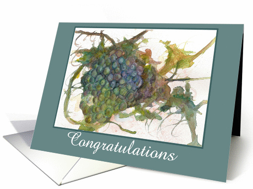 Congratulations Wine Grapes Watercolor Fine Art Painting card (940356)