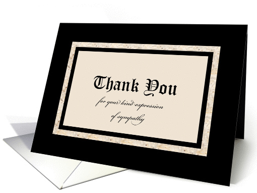 Sympathy Thank You Card -- Classic Black and Tan card (1030747)