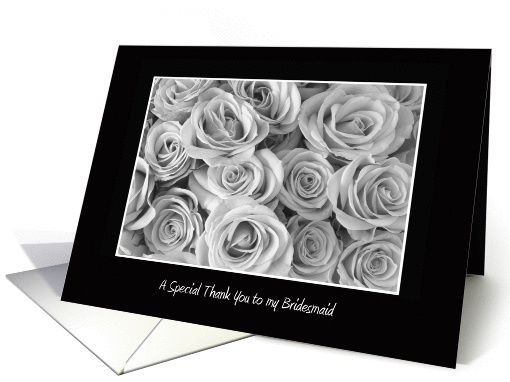 Bridesmaid Thank You Card -- Black and White Roses card (366121)