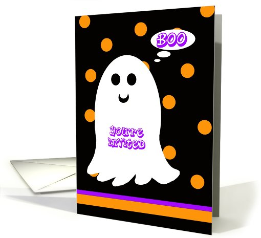 Kids Halloween Birthday Party Invitation  -- BOO card (680514)