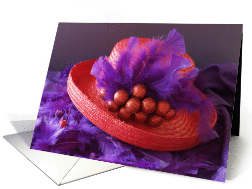 Red Hat Christmas Card -- Ornaments and Feathers card (81132)