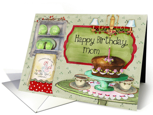 Happy Birthday, Mom; cake and retro towels and dishes card (1184076)