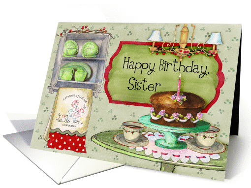 Happy Birthday, Sister; cake and retro towels and dishes card