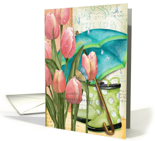 Pink Tulips with Umbrella and Rubber Boots Get Well card (1363232)