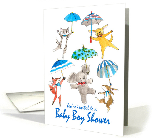 Baby Boy Shower Invitation - Blue Umbrella Animals card (1303088)