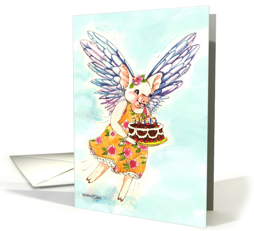 April Fools' Day, Birthday Flying Pig card (161611)