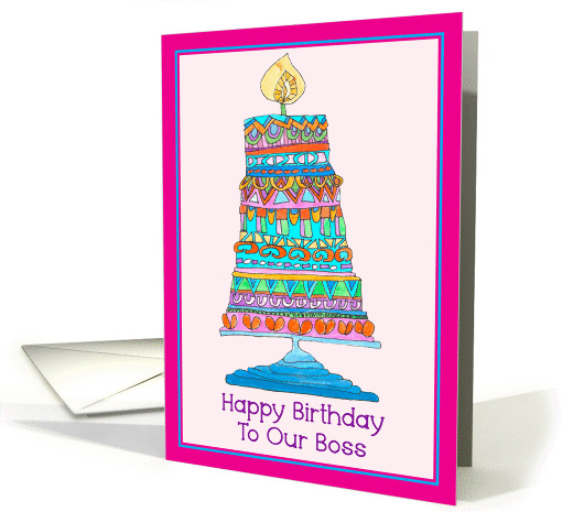Happy Birthday to Our Boss Party Cake card (945883)