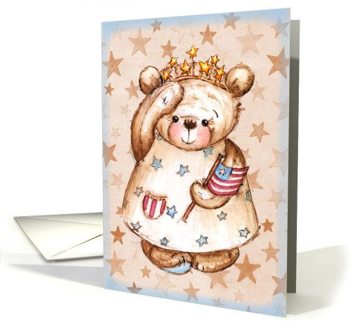 Independence Day - July 4th, Patriotic Bear card (781619)