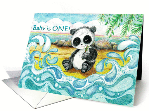 Baby Panda Bear Sitting on Tropical Beach First Birthday... (896970)