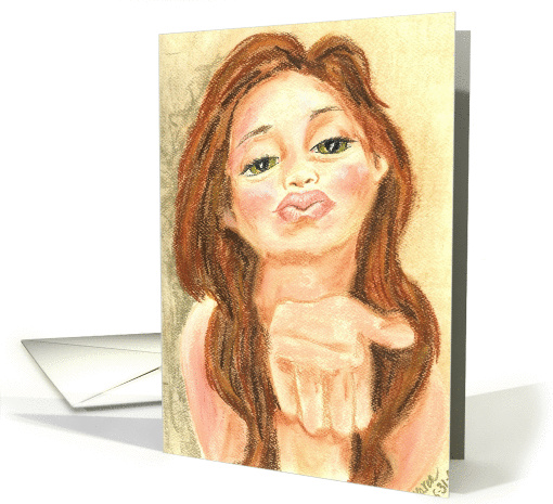 Blowing a Kiss Thank You or All Occasion Kissing card (99903)