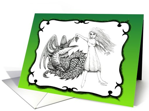 Fair Maiden Holding Cluster of Grapes for Winged Dragon GREEN card