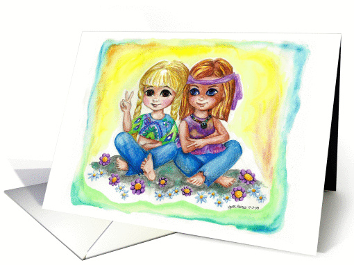 Peace Sign Love Happiness Hippie Flower Children Hippies card (536660)