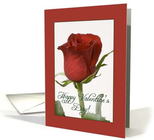 Red rose bud - Happy Valentine's Day card (281227)