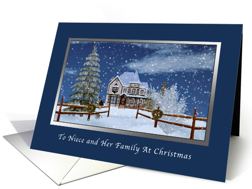 Christmas, Niece and Family, Winter Scene card (1148994)