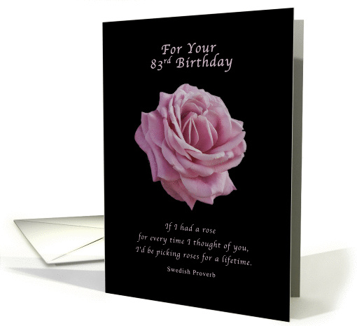 Birthday, 83rd, Pink Rose on Black card (1153154)