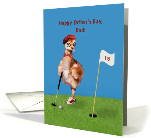 Father's Day, Dad, Humorous Bird Playing Golf card (1274098)