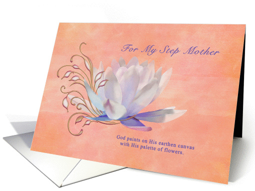 Birthday, Step Mother, Water Lily, Religious card (1315658)